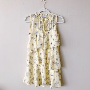 Mango Yellow Ruffle Floral Minh Dress Size 4